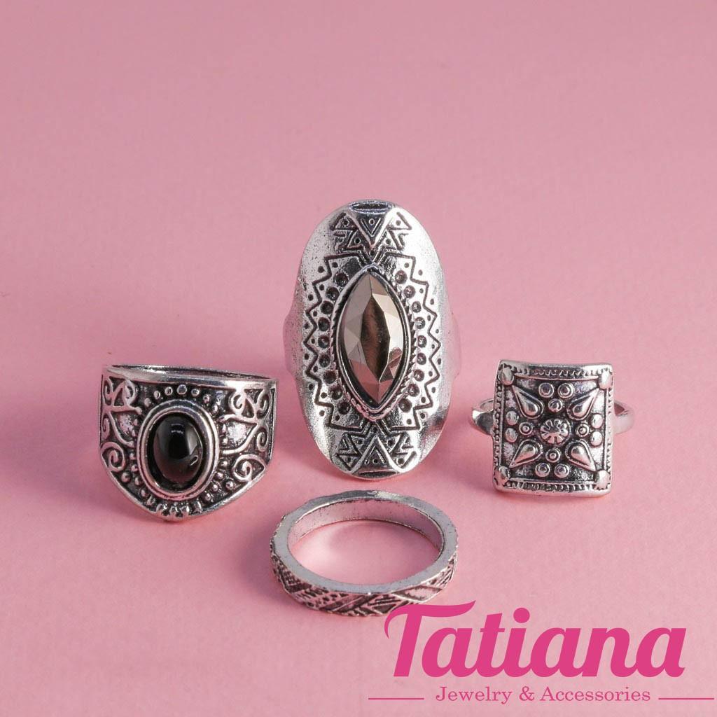 Nhẫn Midi Ring Oval Lamour - Tatiana - N2345 ( Bạc Đen)