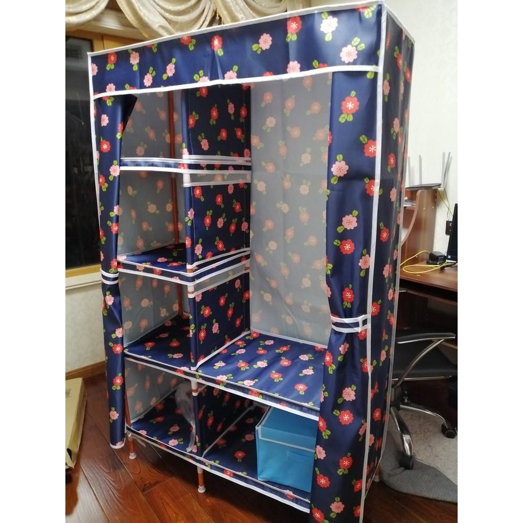 tủ vải khung gỗ đựng quần áo 2 buồng tủ quần áo loại 1 vải dệt gỗ cỡ lớn