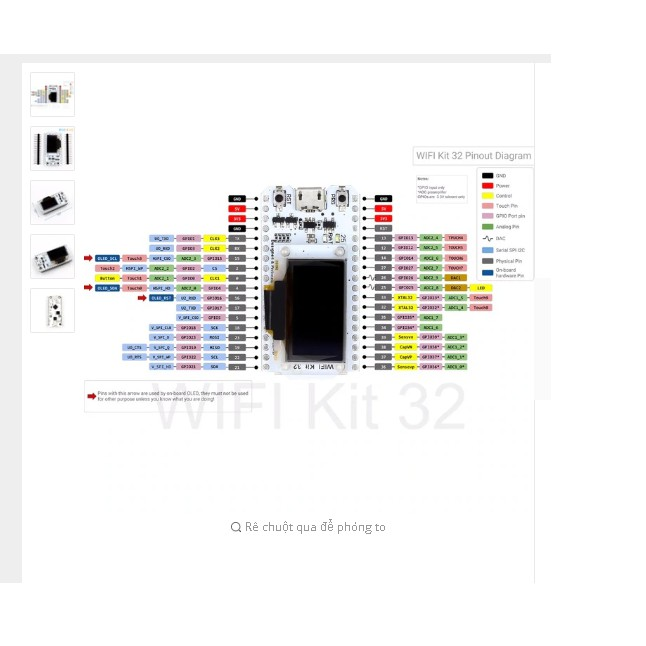 ESP32 Bluetooth WIFI, MÀN HÌNH OLED 0.96 inch, CP2102, bộ nhớ 32 M, điện áp 3.3 V-7 V