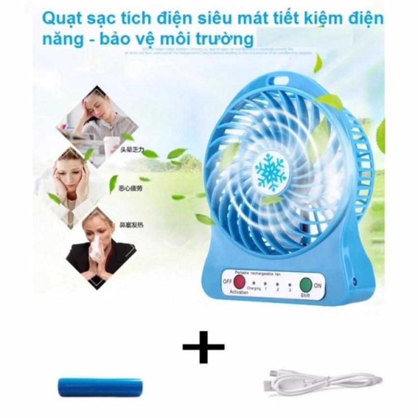 Quạt tích điện mini 3 cấp độ gió và 1 đèn pin ( màu sắc ngẫu nhiên)