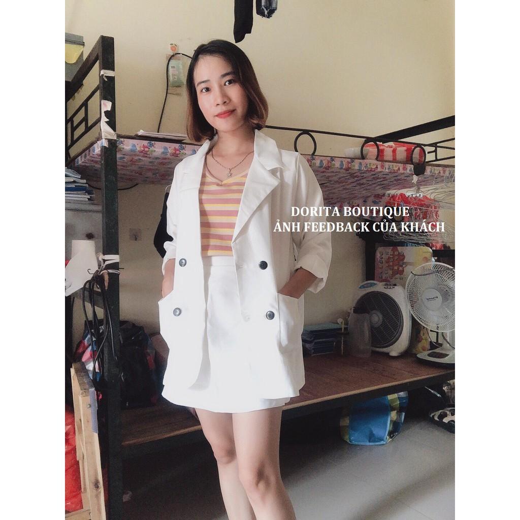 [Ảnh thật/Video] Set áo vest kèm chân váy nhiều màu, Set áo Blazer kèm chân váy - Dorita Boutique