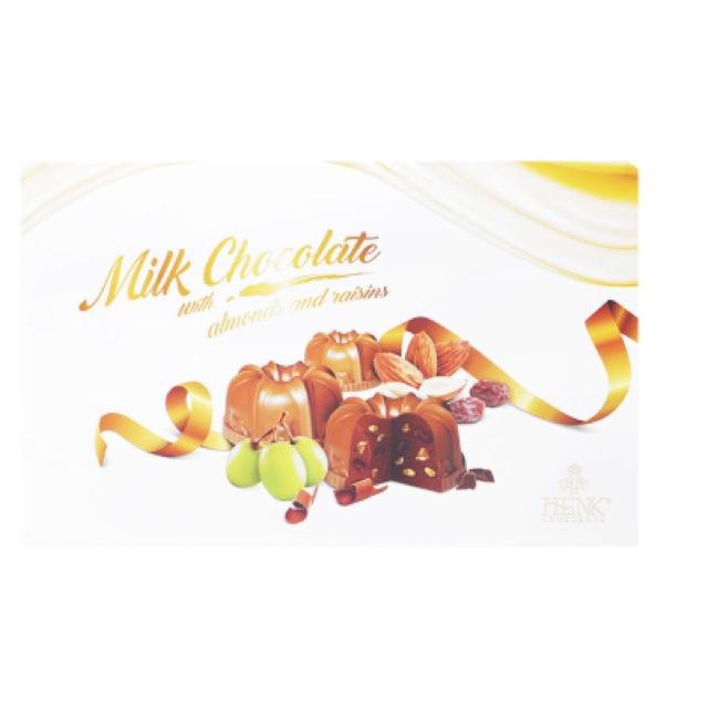 Sô cô la sữa nhân hạnh nhân và nho khô Henk Chocolate 120g - 2542588 , 414776585 , 322_414776585 , 85000 , So-co-la-sua-nhan-hanh-nhan-va-nho-kho-Henk-Chocolate-120g-322_414776585 , shopee.vn , Sô cô la sữa nhân hạnh nhân và nho khô Henk Chocolate 120g