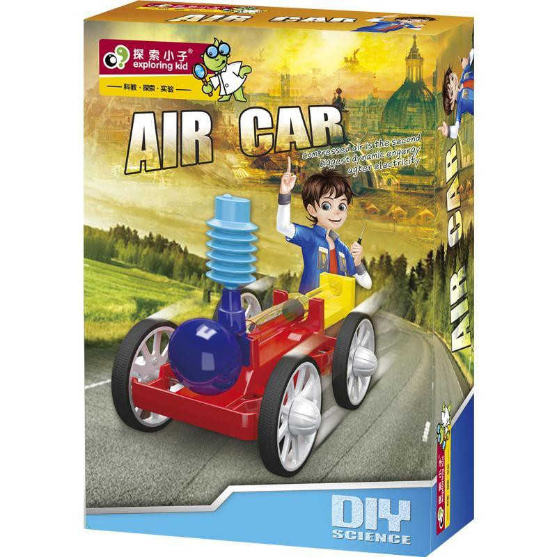 【happylife】Explore kid students stem scientific experiment small production physics diy puzzle air-compressed power car toy