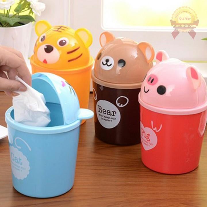Thùng rác nhựa mini để bàn làm việc văn phòng hình thú