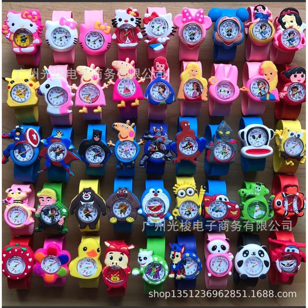 ĐỒNG HỒ dễ thương dành cho bé yêu - Đồng hồ điện tử dạng Dập tay hình siêu nhân ,búp bê,helokitty,hoạt hình cho trẻ em