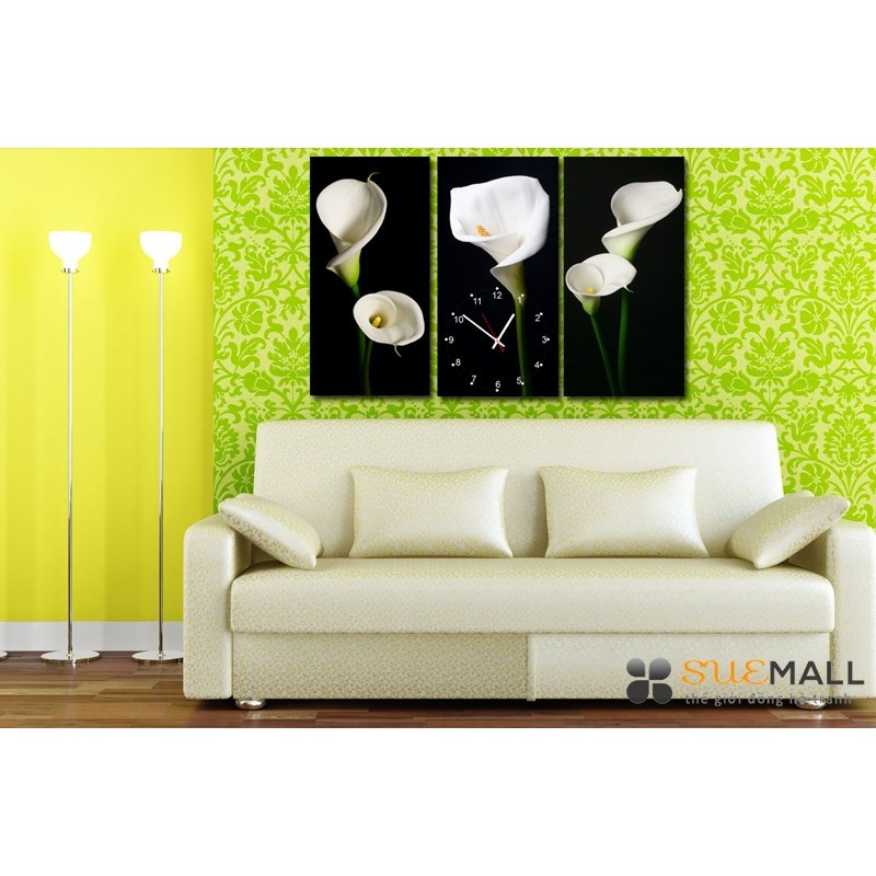 Tranh đồng hồ Suemall hoa Lyly Calla HL150801