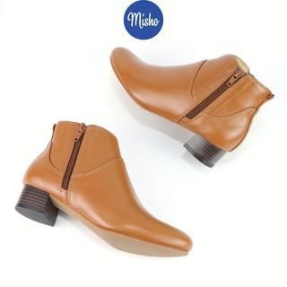 Giày boot cổ thấp Misho da bò khóa kéo gót 3cm 1087