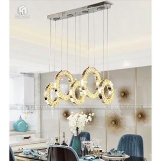 (Bảo hành 2 năm) Đèn thả pha lê 5 vòng tròn , 3 chế độ ánh sáng ,trang trí phòng ăn, phòng khách , cửa tiệm