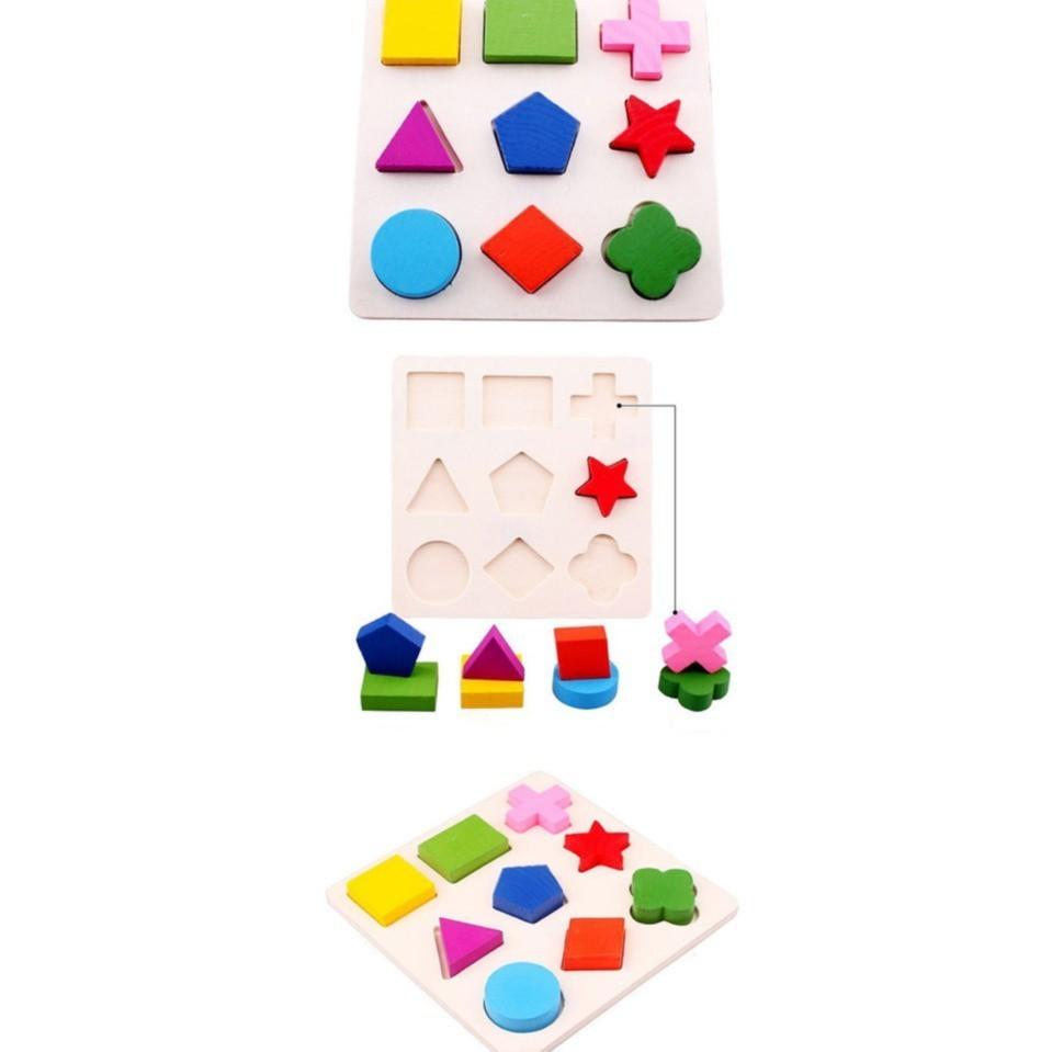 Bộ 3 bảng gỗ hình học cho bé - Đồ chơi phát triển tư duy