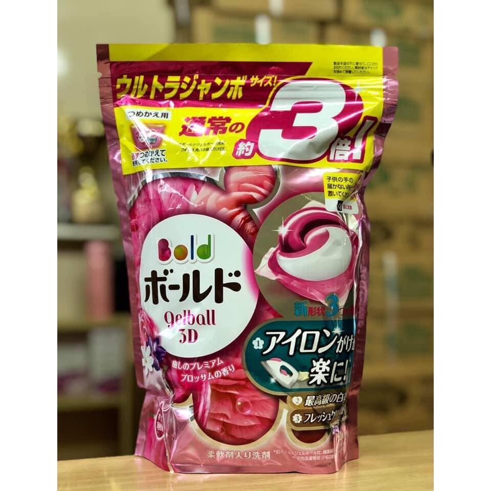 [HÀNG NỘI ĐỊA NHẬT] Viên giặt Gelball 3D - Màu hồng - Túi 44 viên