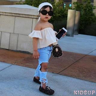 Set thời trang áo trễ vai+quần jean rách gối+băng đô sành điệu xinh xắn cho bé gái