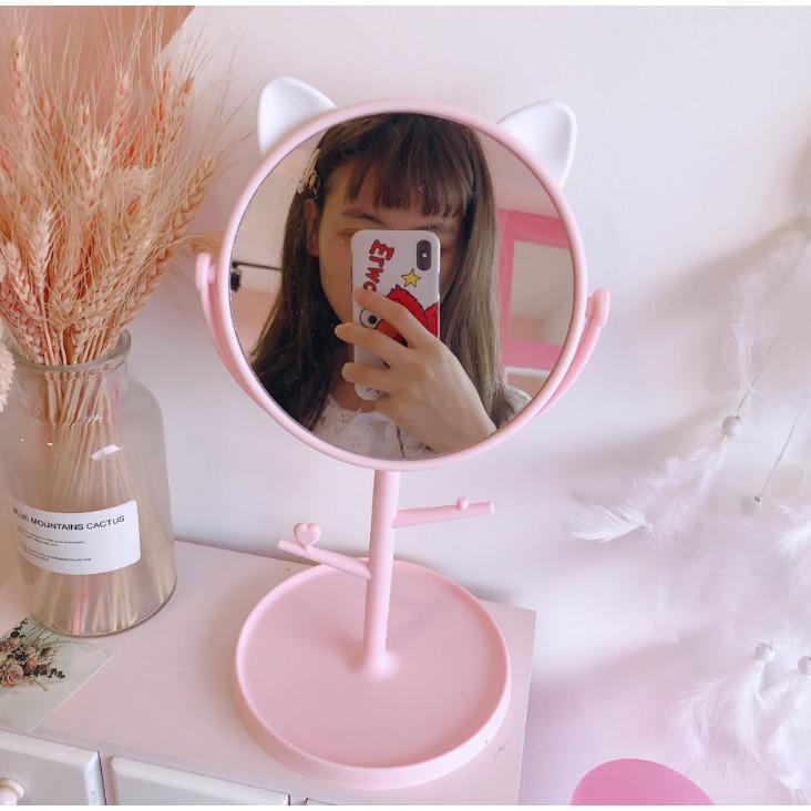 Gương Trang Điểm Để Bàn Tai Mèo Dễ Thương - Gương Neko Để Bàn Xoay 360 phong cách Hàn Quốc Duashop