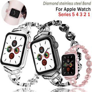 Dây đeo đồng hồ bằng inox đính kim cương cho Apple Watch band 38mm 42mm 40mm 44mm series 6 SE 5 4 3 2 1