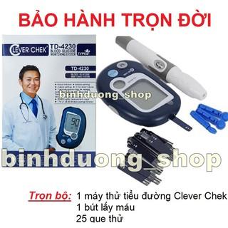 Trọn bộ Máy đo đường huyết Clever chek tặng kèm 25 que thử tiểu đường thumbnail