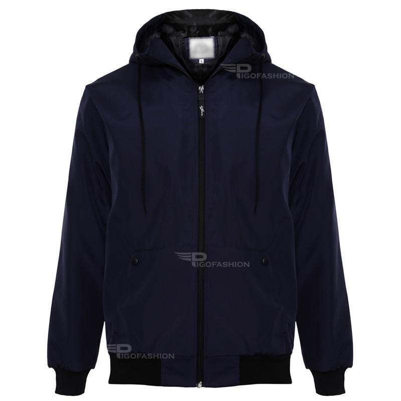 Áo khoác nam chất dù 2 lớp phối nón chuẩn men PIGO AKDC01 (màu xanh đen)