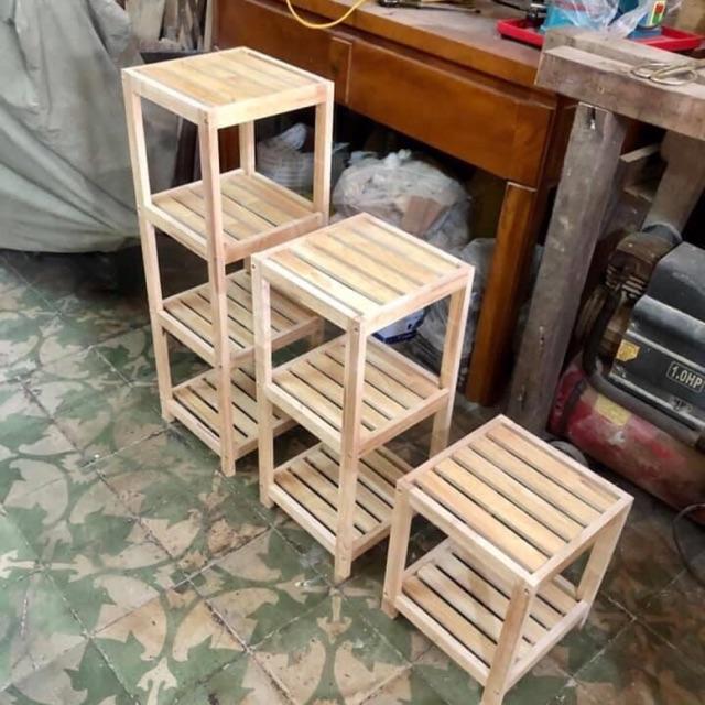 Kệ gỗ vuông 4 tầng