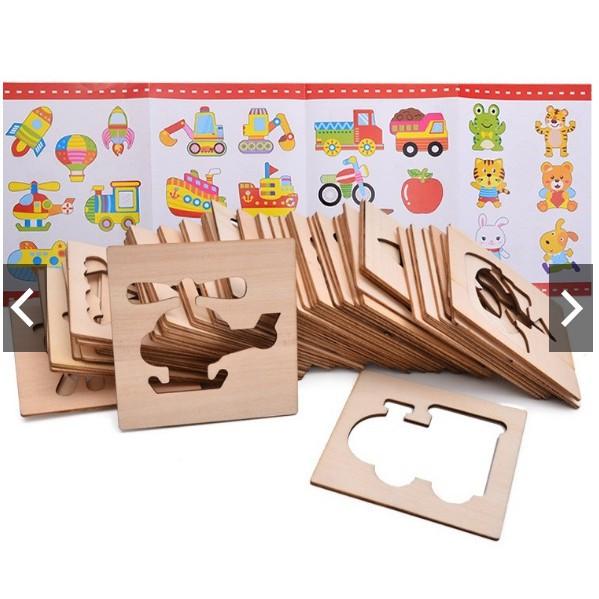 Bộ khuôn vẽ tranh và tô màu bằng gỗ cho bé