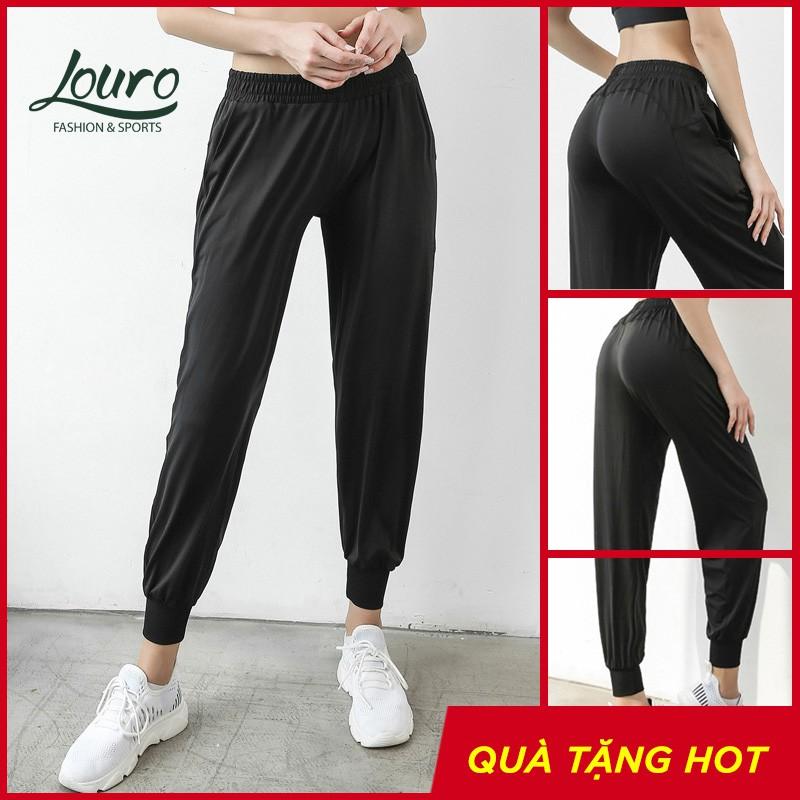 Quần Jogger tập Yoga Louro QL41, kiểu quần tập Gym nữ phom rộng che khuyết điểm, co giãn 4 chiều, mặc thoáng mát
