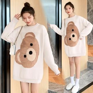 Bộ Áo Sweater Dày Dặn In Hình Gấu + Quần Dài Lưng Cao Ống Đứng Thời Trang Cho Mẹ Bầu
