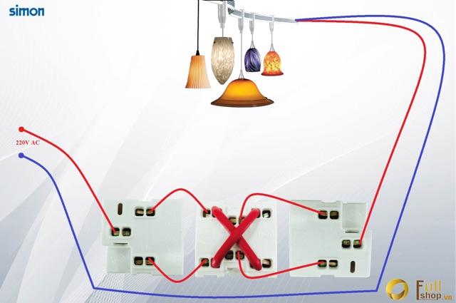 Bộ 3 công tắc điều khiển 1 bóng đèn lắp đế nổi hoặc âm chuẩn chữ nhật