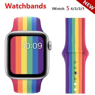 Dây Silicone Màu Cầu Vồng Khóa Kim Loại Cho Đồng Hồ Iwatch Series 5 4 3 2 1 Apple Watch 42mm 38mm 40mm 44mm