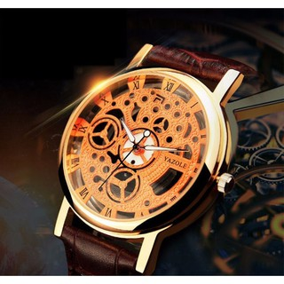 Đồng hồ nam YAZOLE giả cơ cực chất dây da mềm đeo êm tay chống nước tốt YGC01 thumbnail