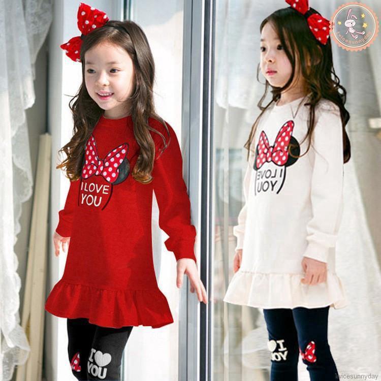 Set áo thun dài tay + quần dài in họa tiết hoạt hình dành cho bé gái 3-8 tuổi