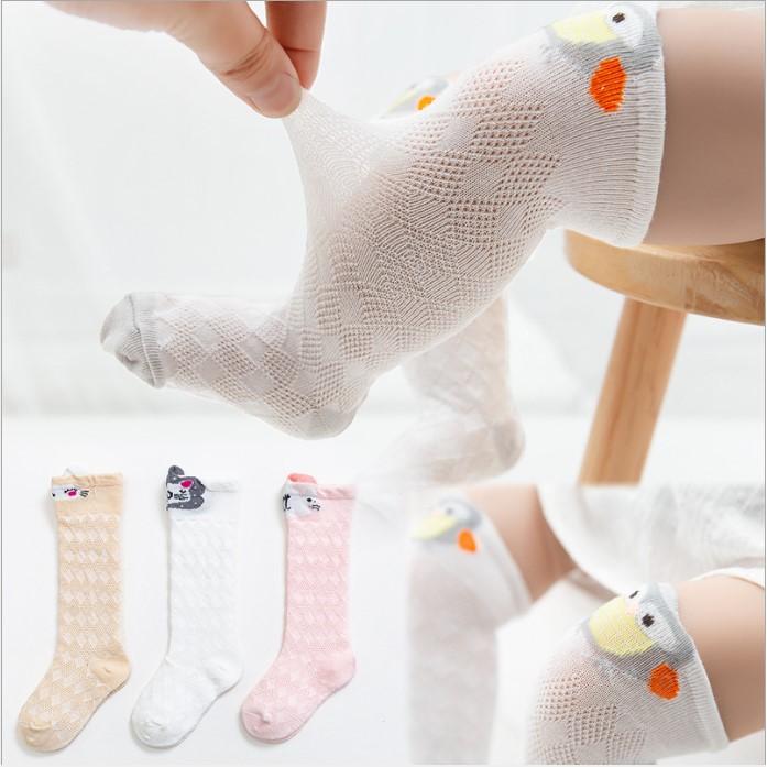 Vớ Lưới Dài Trẻ Em từ 0-1 tuổi, Vớ lưới cho bé trai, bé gái Cotton Hàn Quốc Hoạt Hình Xinh Xắn, giữ ấm và bảo vệ bé