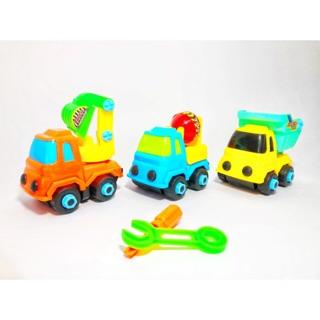 Bộ 3 xe ô tô mô hình công trình, xe cứu hoả tháo lắp được tặng kèm tua vít và mỏ lếch