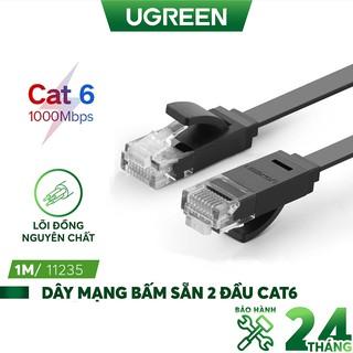 Dây cáp mạng 2 đầu đúc Cat 6 UTP dạng dẹt, dài từ 0.5-8m UGREEN NW104