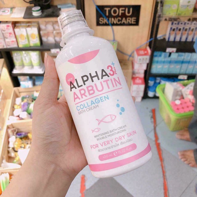 Sữa Tắm Dưỡng Trắng Da ALPHA ARBUTIN 3+ Plus COLLAGEN Bath Cream 350ml - Thái Lan