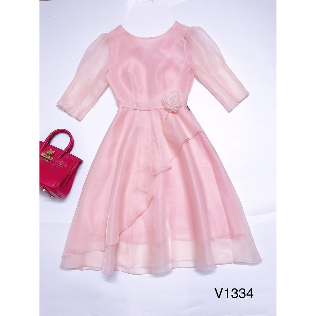 Váy hồng organza lay lỡ V1334 - MC phân phối chính thức ( kèm ảnh thật shop tự