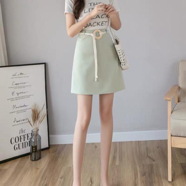 Chân váy ngắn dáng A dây thắt eo gọng tròn  Hàng Quảng Châu