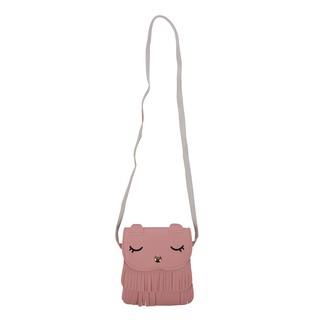 Girls Tassel Small Cat Shoulder Messenger Bag PU Leather Pink