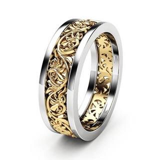 Nhẫn tròn kim loại nam hoa văn