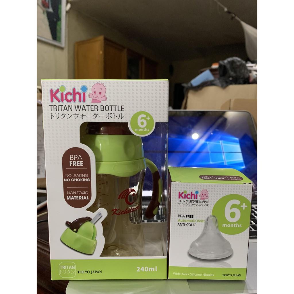 Bình Tập Uống Nước Cho Bé Kichilachi,Từ 6 Tháng Tuổi Trở Lên,Có Vòi Hút+Kèm Núm Vú,Chất Liệu Nhựa Trian,Dung Tích 240ml