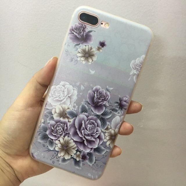 Ốp hoa hồng tím iphone