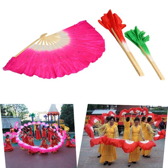 Colorful Silk Veil Folk Art Chinese Belly Dance Dancing Bamboo Short Fan [tyoufing]