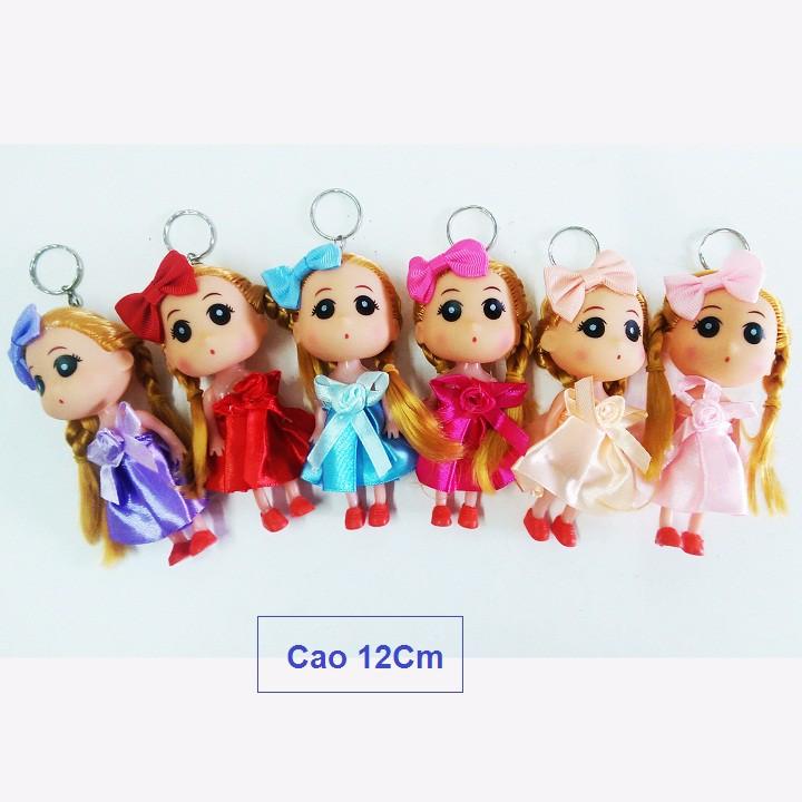 Túi 12 đồ chơi búp bê Chibi chân ngắn đầm ngắn 12Cm, búp bê chibi móc khóa