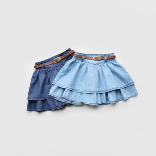 Chân váy jean xòe kèm nịt da (vải bò giấy), size 12-36kg