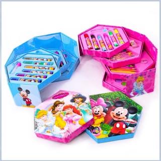 Hộp bút chì màu an toàn tập tô mới sinh hình lục giác 4 tầng gấp gọn (46 món tập tô)đồ dùng cho bé tã trẻ em