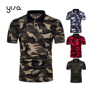 Yisa Camouflage Breathable Shirt Slim Fit Men T-Shirt