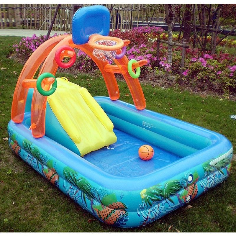 Bể bơi phao cầu trượt cho bé