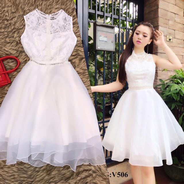 BÁN HÀNG KHÔNG LỢI NHUẬN - Váy trắng sát nách chân voan kính xòe V506