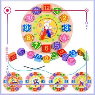 Đồ chơi đồng hồ gỗ xâu hạt hoạt hình cho bé- Nhiều mẫu