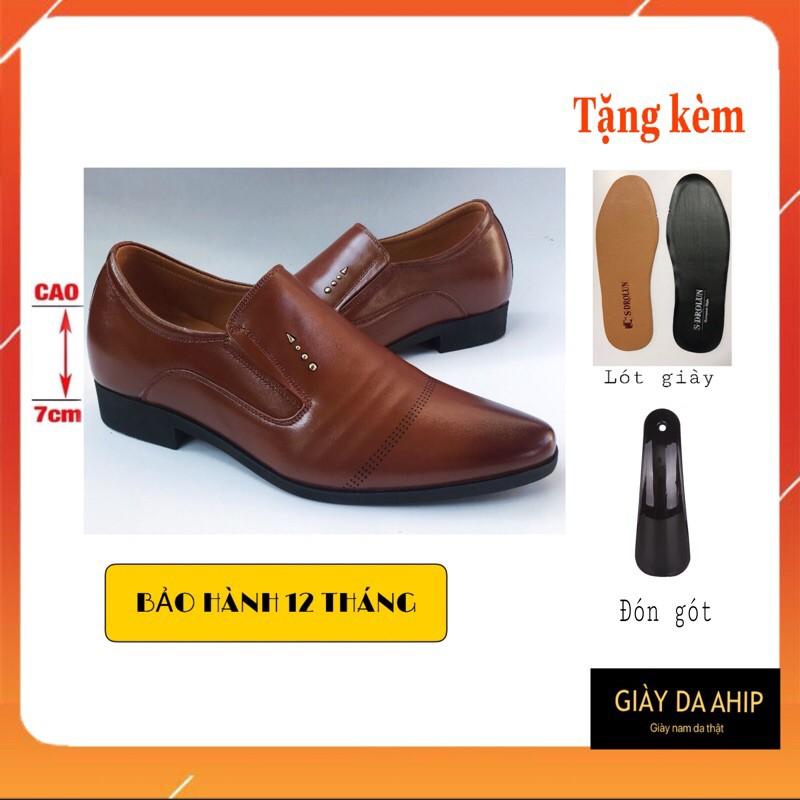 Giày Tây Nam Tăng Chiều Cao Da Bò Cao Cấp Dập 3 Gân C2022