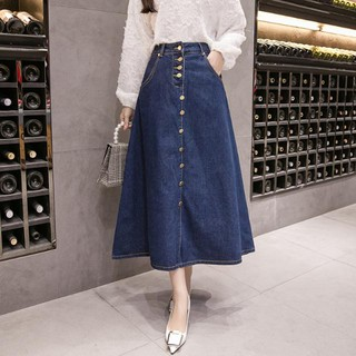 Chân Váy Denim Dáng Dài Cỡ Lớn Thời Trang 2020 Cho Nữ
