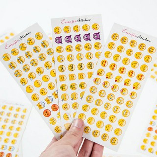 Bộ 12 tờ sticker emoiji biểu cảm dán trang trí điện thoại, nhật ký...