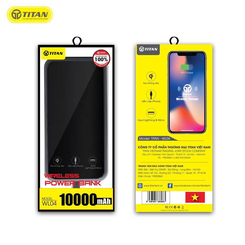 Pin dự phòng không dây 10000mAh TITAN Chính WL04 Hãng kèm cáp iPhone iPad cho IP 6 78 plus x max 11 12 pro samsung oppo