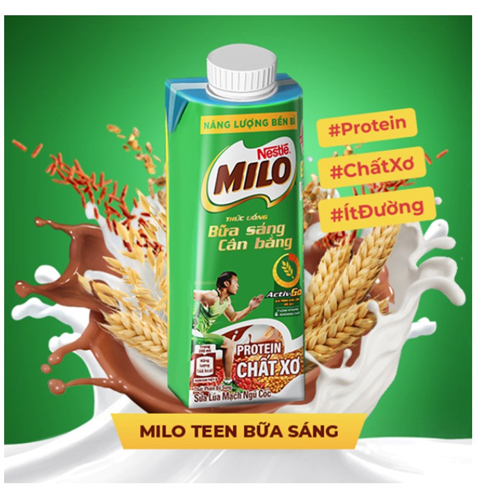 Hộp 200ml Sữa Lúa Mạch Ngũ Cốc Nestlé MILO Teen Bữa Sáng Ít Đường